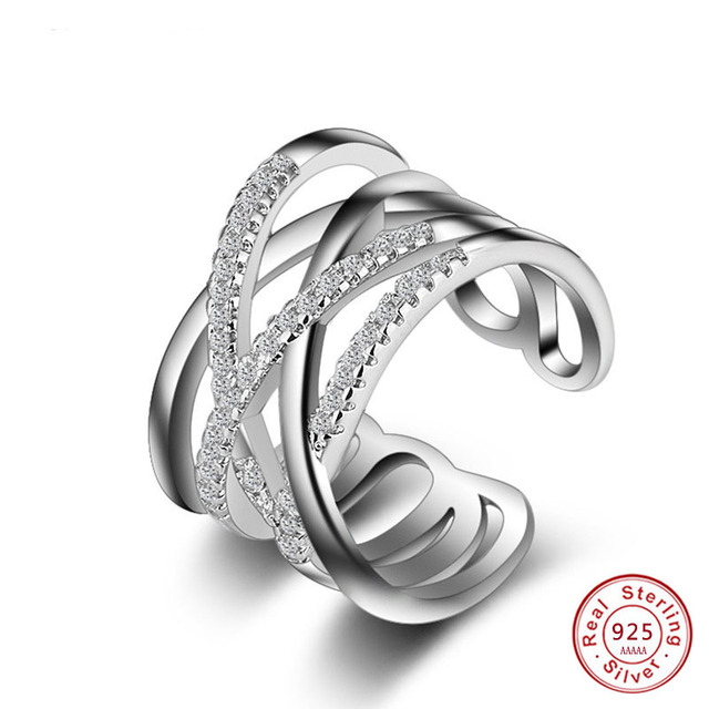 925 sterling-silver-jewelry crown Rings female double cross cz Crystal infinity