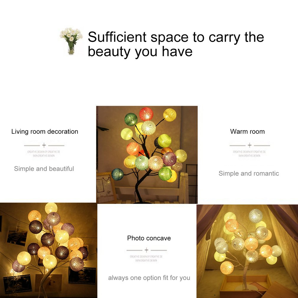 220V LED Cotton Ball Tree Table Night Light Romantic Desk Lamp For Home Bedroom Wedding Partry Decor 2018 New Version