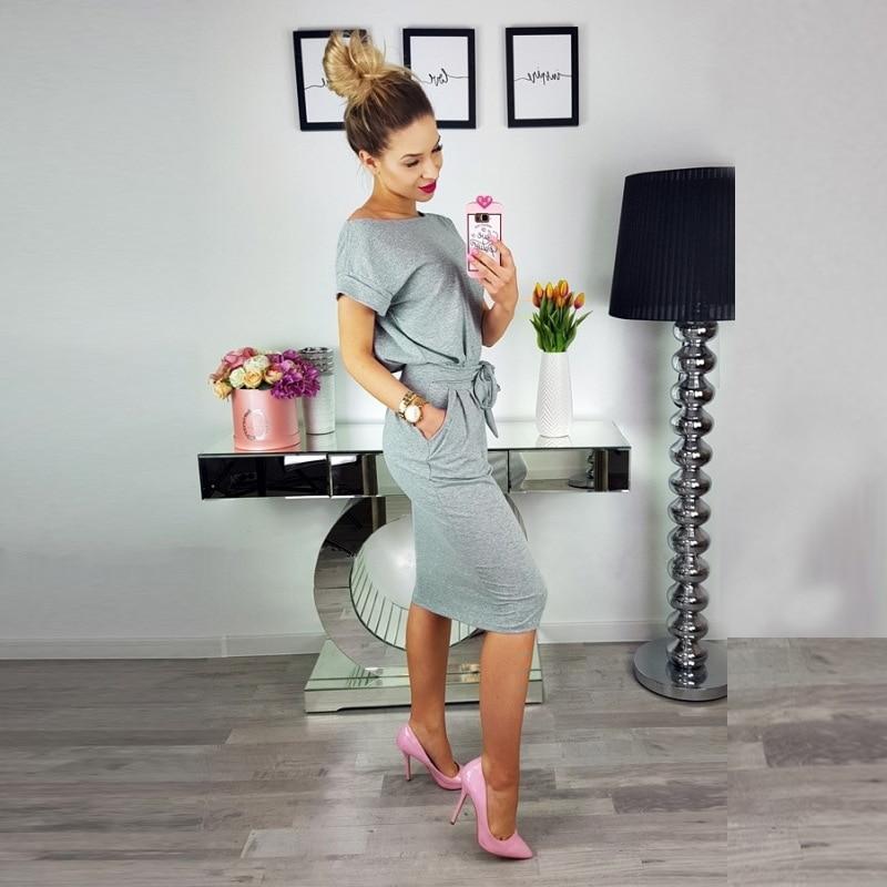19 New Summer Fashion Women Casual Short Sleeve O-Neck Straight Black Gray Blue Dress Loose Plus Size Pocket Cotton Midi Dress 19