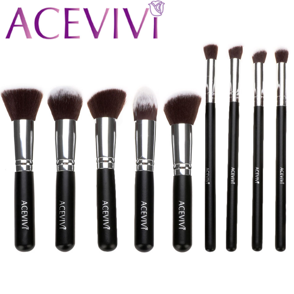 ACEVIVI  Professional 10pcs Soft Cosmetic Tool Makeup Brush Kit Cosmetics Foundation Brush with Pouch 31 acevivi 4pcs sponge