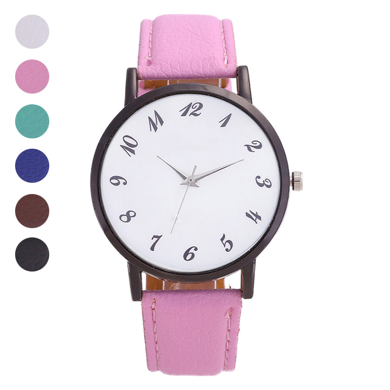 Women Men Student Wrist Quartz Watch Round PU Strap Needle Buckle Fashion Birthday Gift LL@17