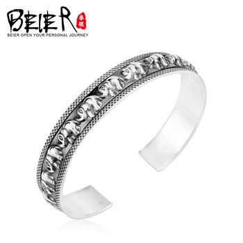 Beier 925 Sterling Silver Bracelet  fashion trendy high quality elephant bracelet man and women bracelet   BR925SZ042