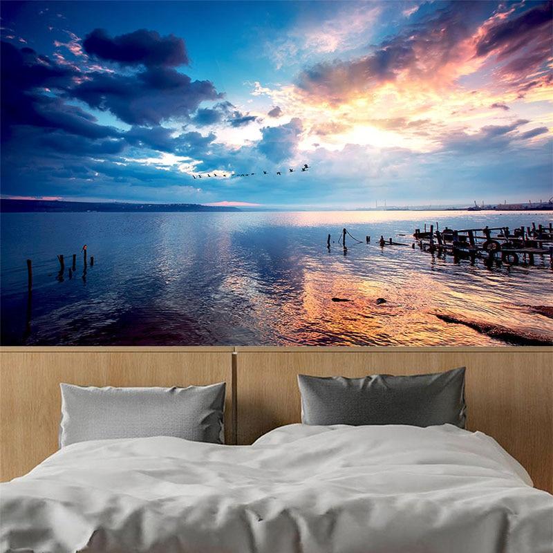 Custom Mural Wallpaper 3D Sunset Sky Seaside Landscape Photo Wallpaper Living Room TV Sofa Theme Hotel Backdrop Wall Decor Mural