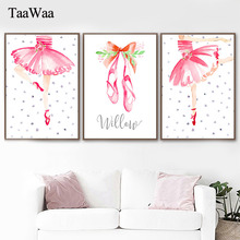 Pink Cartoon Ballet Girl Poster and Print Nursery Wall Art Canvas Painting Decorative Picture for Kids Bedroom Home Decor