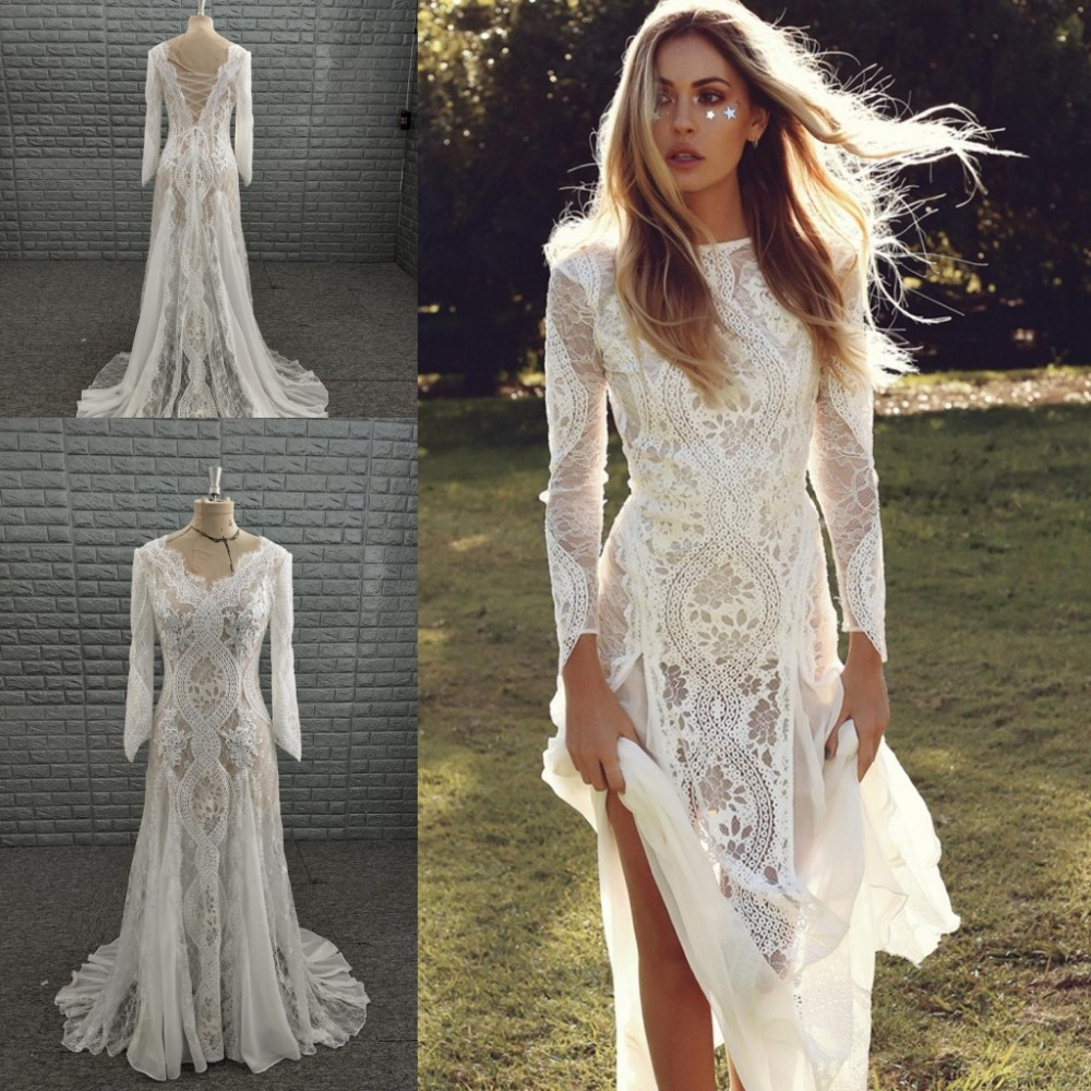 Boho Wedding Dress 2019 Long Sleeve Lace Backless Sweep