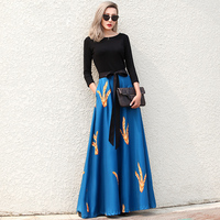 Jessica S Store Spring Autumn Women Vintage Elegant Slim O Neck 3 4Sleeve Print Patchwork Maxi