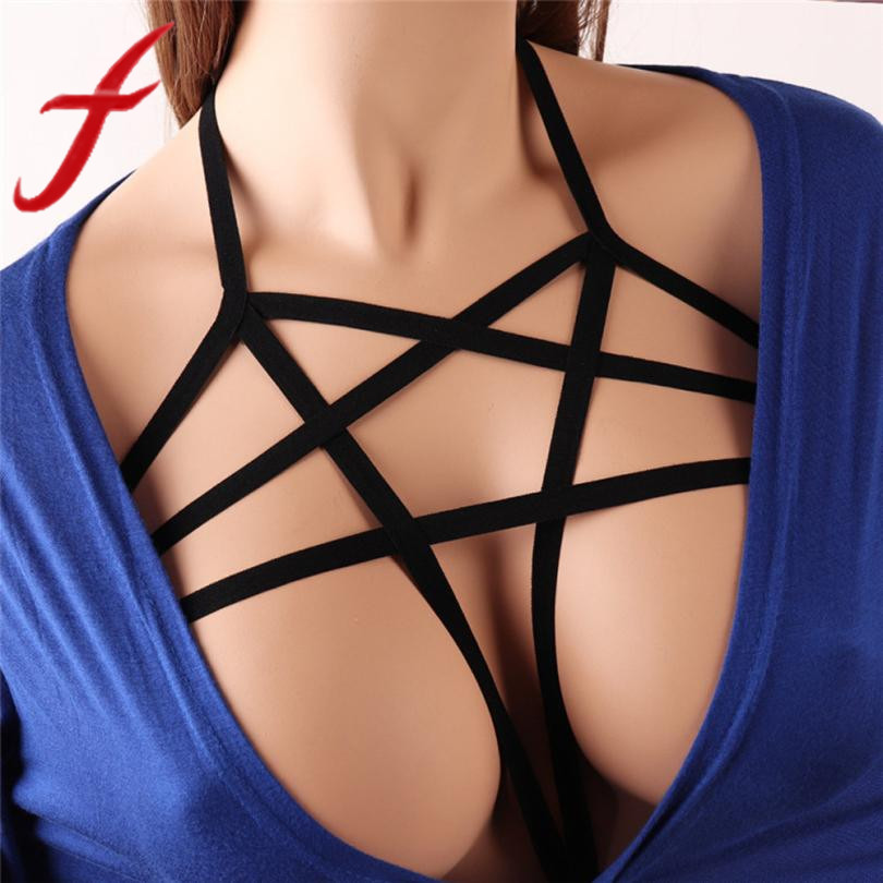 Gothic alluring women sexy halter cage bandage cage bra elastic strappy hollow out bra bustier cropped tops body belt