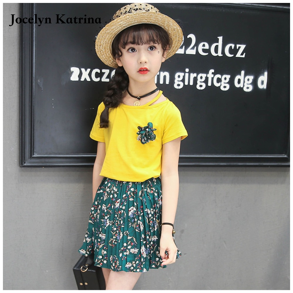 Girls T-shirt Skirt Clothing Sets 2017 Summer Kids Girls Clothes Short Sleeve Clothes Set Children Toddler Girl Clothing family fashion summer tops 2015 clothers short sleeve t shirt stripe navy style shirt clothes for mother dad and children