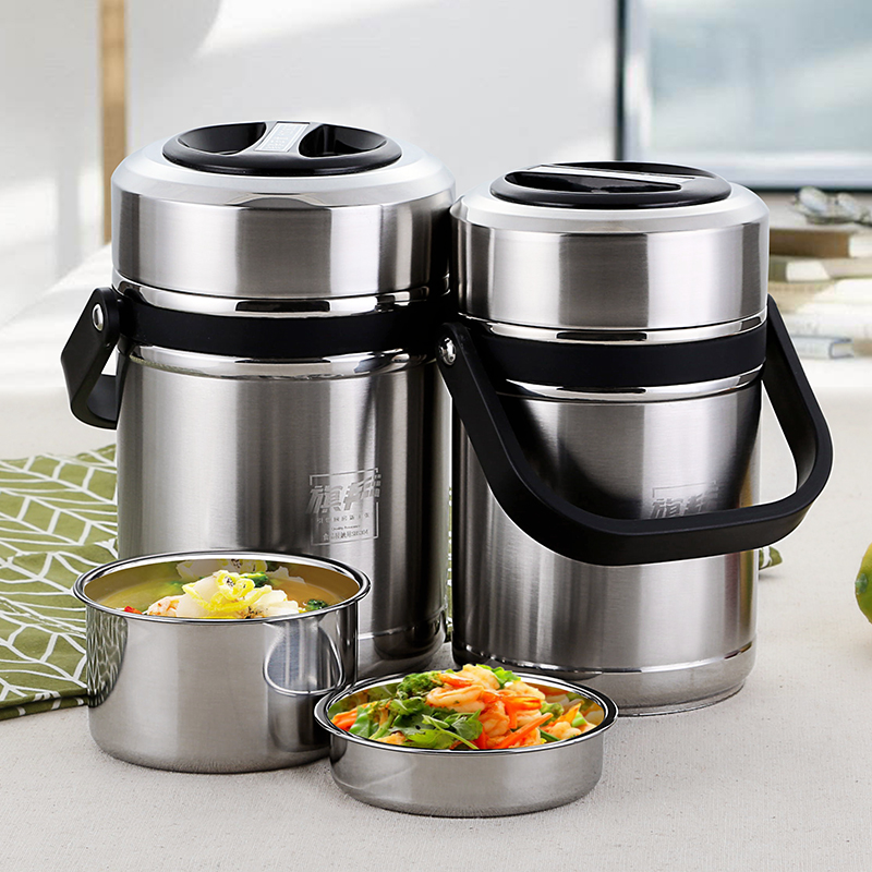 1.8L or 2.6L Lunch Pail Food Container 304 Stainless Steel Lunch Box Vacuum Insulated Thermo Soup Bento Lunch Box