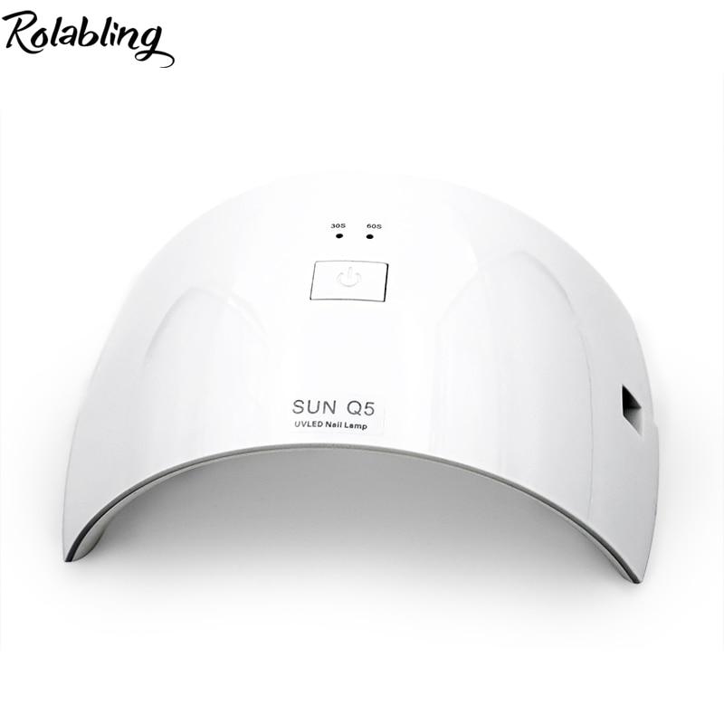 Rolabling SUNQ5 Nail Dryer Lamp Cured UV Gel Polish Professional Nail Dryer Machine 24W White LED UV Lamp For Manicure Art rolabling 110v