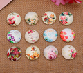 24X  14mm flowers and plants pattern Round  Handmade Photo Glass Cabochons & Glass Dome Cover Pendant Cameo Settings