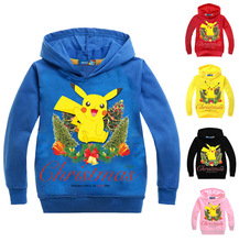 2-7yrs Christmas Clothes Boys Cartoon Children's Sweater Baby Girls Hoodies and Sweatshirts Pokemon Go Kids Long Sleeve T-shirt
