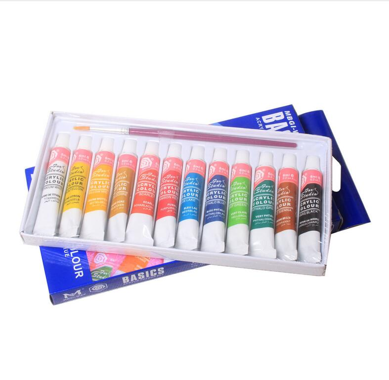2019 Environmentally New Funny Draw 12 Color Paint Tube Color Set Free Paint Brush Fashion Painting Acrylic 5ml  Painting Tools