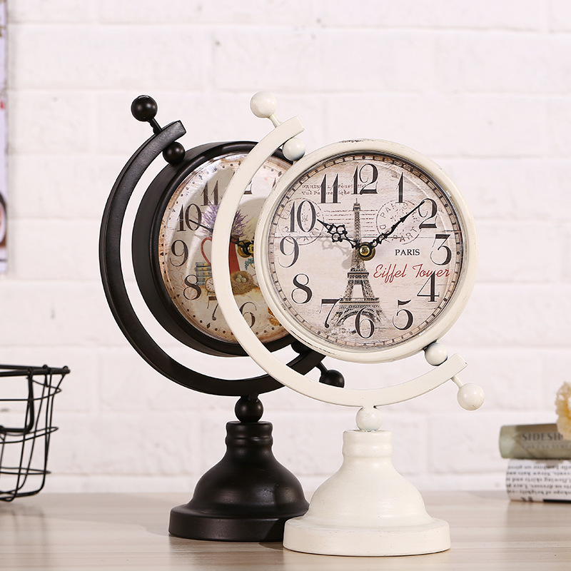 Desk Table Clocks Europe Retro Creative Globe L Sitting Room TV Cabinets Bar Cafe Decor Metal Antique Style