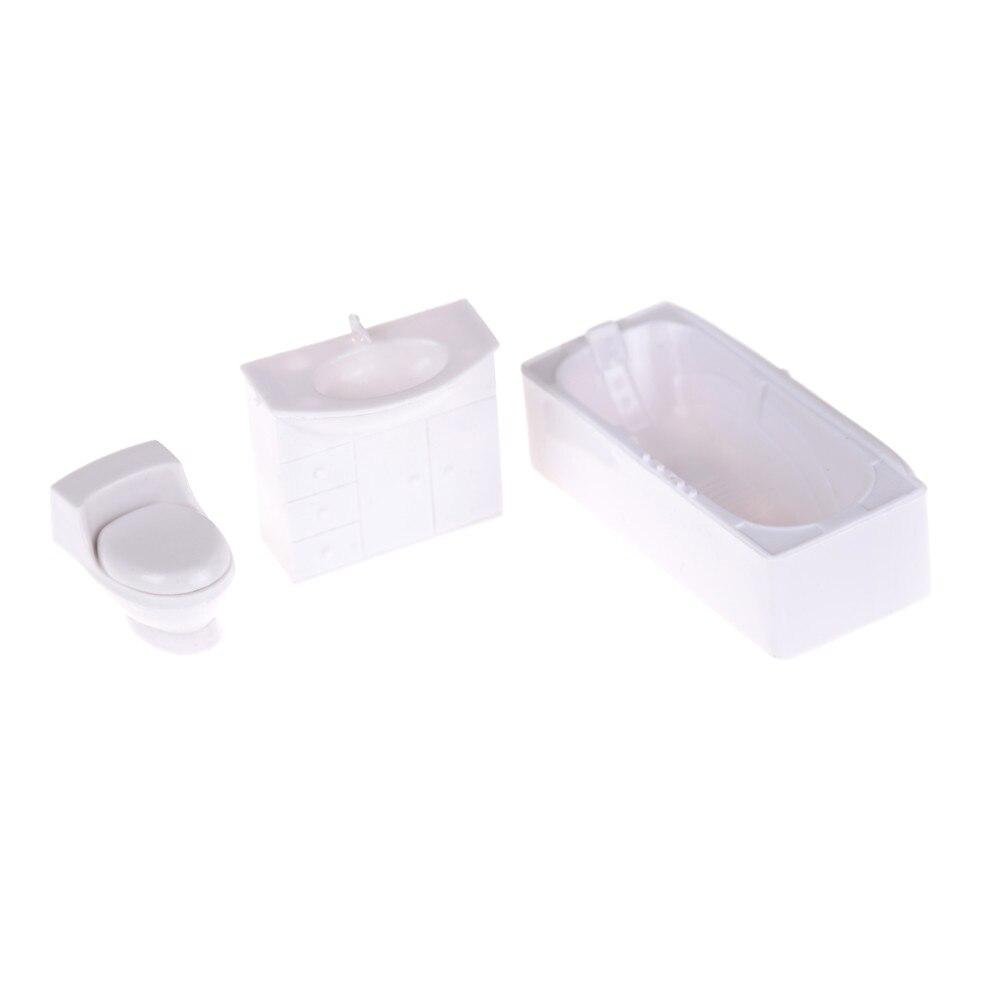 1/3 pçs/set closestool banheira lavatório modelo conjunto fingir jogar brinquedos do banheiro para crianças 1/25 casa de bonecas em miniatura
