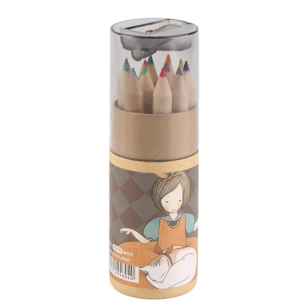 12 Different Colors Pencil Set With Sharpener Portable Painting Pencils For Kids Durable Office School Supplies