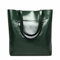 2018 High Quality Leather Women Bag Bucket Shoulder Bags Large Capacity Top handle Bags Fashion Solid Big Handbag Bolsos Mujer