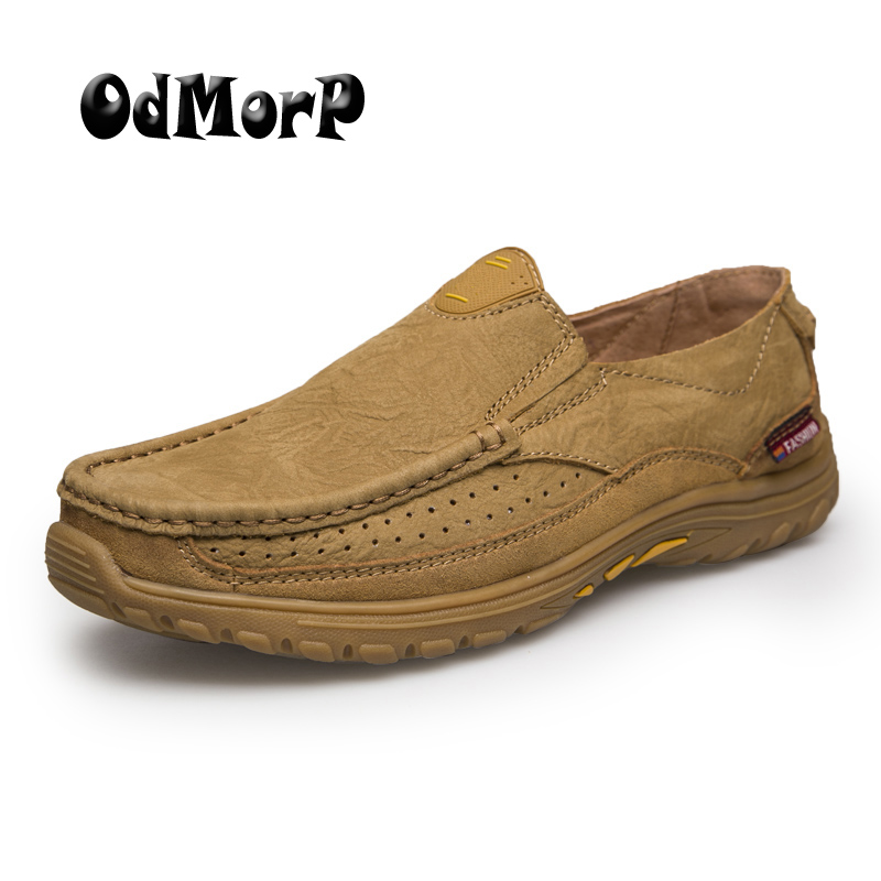 ODMORP Men Shoes Genuine Leather Shoes High Quality Business Man Oxfords Slip On Loafers Soft Comfortable Casual Shoes Men new style comfortable casual shoes men genuine leather shoes non slip flats handmade oxfords soft loafers luxury brand moccasins