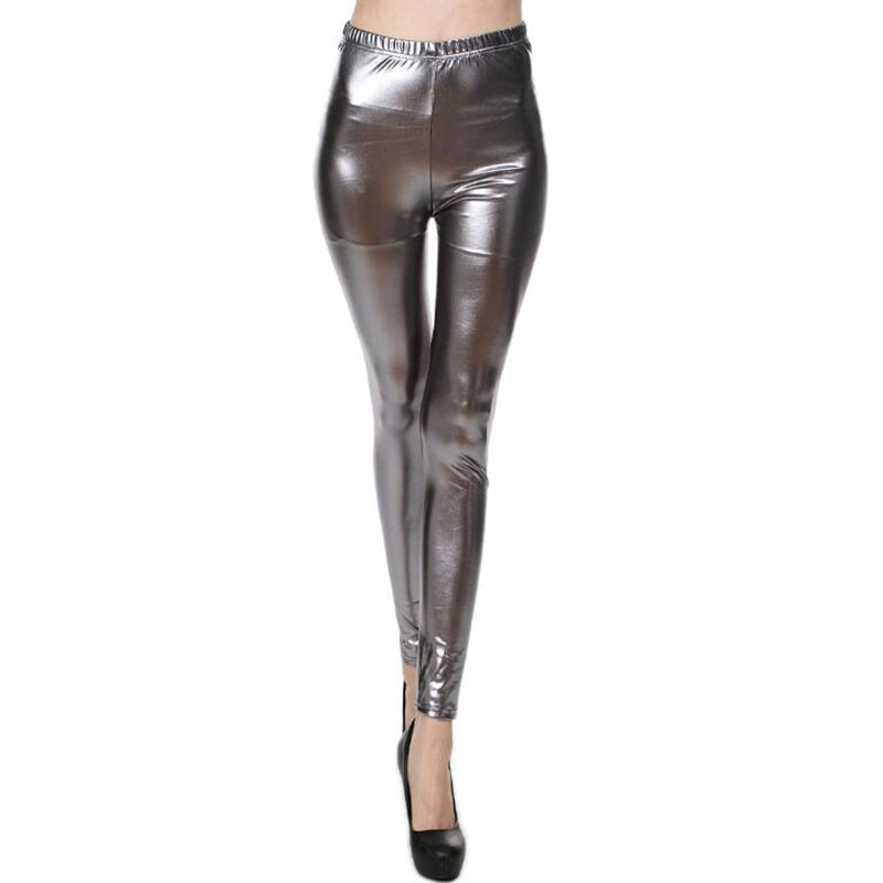 YSDNCHI Women Fashion Sexy Gothic Punk Rock Style Gold Metallic Color Bright Sequin PU Faux Leather   Leggings   Fitness For Pants