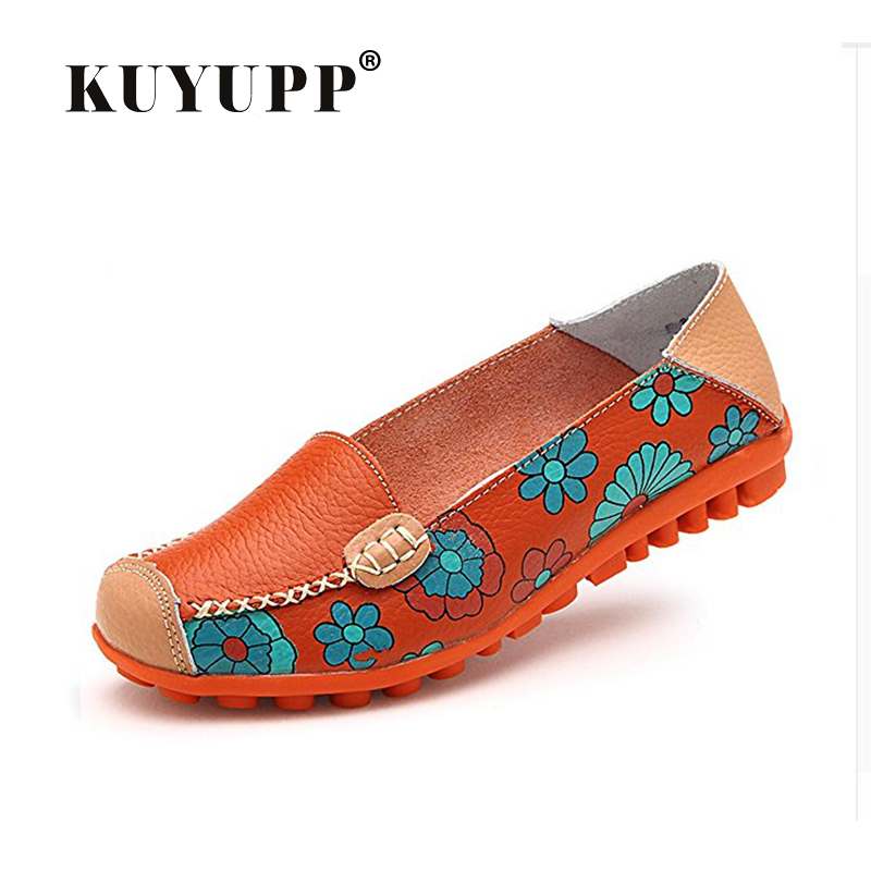 KUYUPP Big size flat Shoes women Foral print Leather shoes Slip-on Ballet Ladies shoes Summer flats Moccasins Loafers YDT913 beyarne spring summer women moccasins slip on women flats vintage shoes large size womens shoes flat pointed toe ladies shoes
