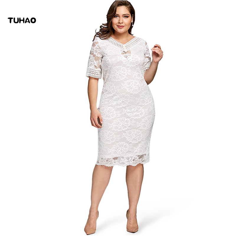 TUHAO Plus Size 5xl 4xl Women Elegant Party Office Lady Dresses 2018 Summer Short Sleeve Sheath Bodycon Lace White Dress YX01