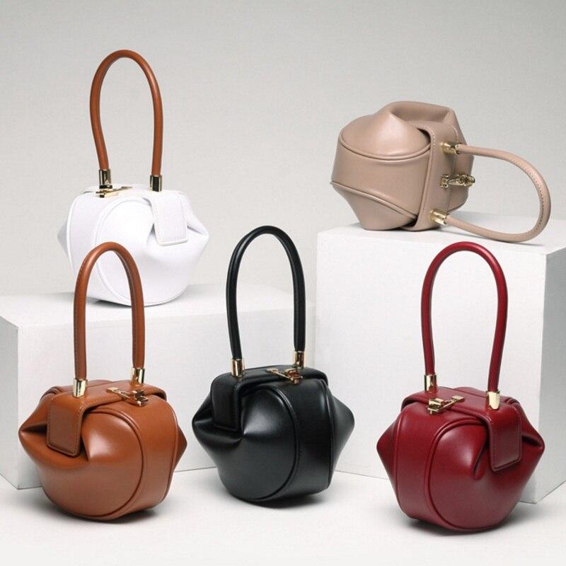 купить Fashion Design Women Handbag Cow Split Leather Hobos Ladies Top-handle Bag Dumplings Shape Vintage Luxury Tote Chic Shoulder Bag недорого