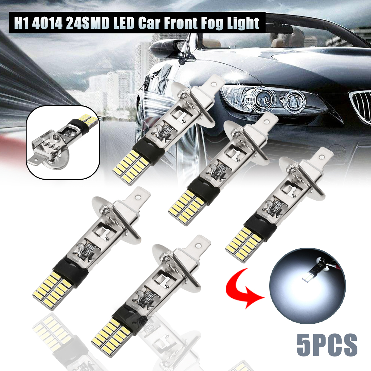 Car Light Source 5pcs <font><b>H1</b></font> 4014 24SMD <font><b>LED</b></font> Car Front Fog Light Driving <font><b>Lamp</b></font> <font><b>LED</b></font> Bulb White Canbus Error Free Mayitr image