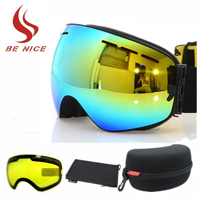 2018 двойной анти-туман большой Сферический Лыжный Спорт очки лыжные очки унисекс очки с Ночное видение объектив оригинальный Коробки маска ...
