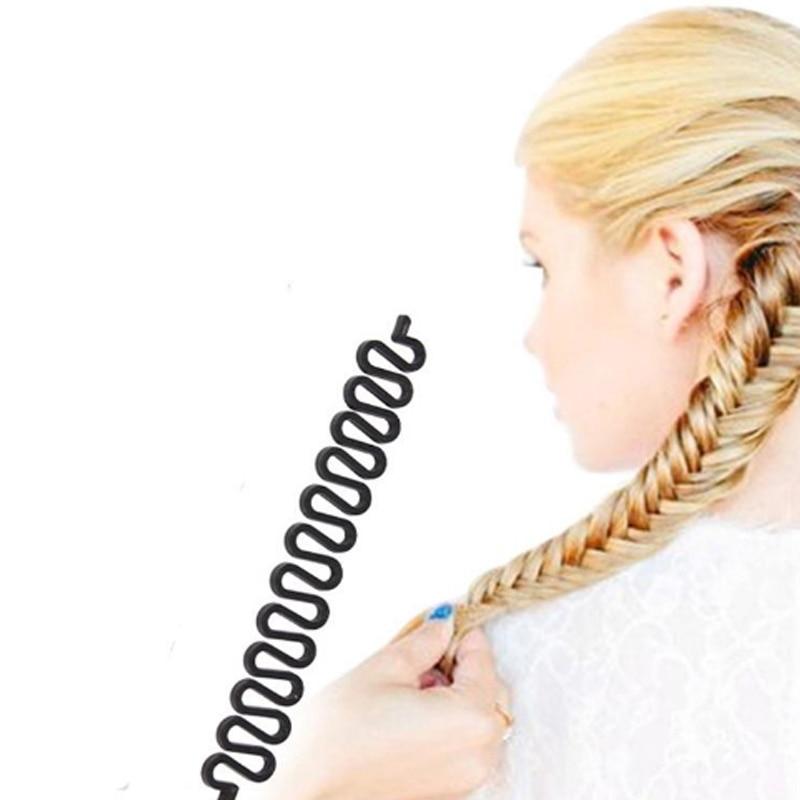 19cm Black Women Braided Hair Accessories Pinches Grips Fashion Tools Hair Braid Maintenance Hair Curler For Women Weaving Tool