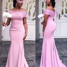 Bridesmaid-Dresses Honor Dress Lace Party Pink Women Strapless with Applique Luxury Stain
