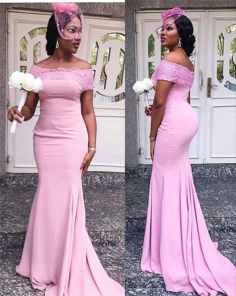 Strapless Pink Mermaid   Bridesmaid     Dresses   2019 With Applique Lace Luxury Stain African Women Long Maid Of Honor   Dress   Party