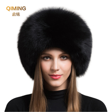 2019 Hot Sale 100 natural Fox Fur Hat Women Cap Thick Fur Cap Winter Warm Hat Female Fashion For Women Hat With Earmuffs Hat W cheap Adult Solid Bomber Hats
