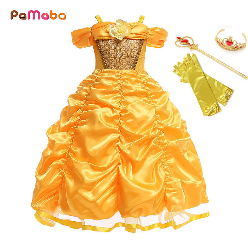PaMaBa Cartoon The Beauty and the Beast Princess Belle Dresses Outfit Children Halloween Birthday Party Fantasy Cosplay Costume beauty and the beast cosplay costume prince adam cosplay anime outfit halloween men coat gentleman adult clothes custom made