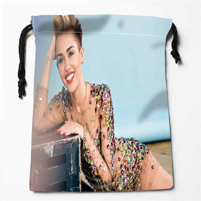 J&w102 New Miley Cyrus Custom Printed  Receive Bag Compression Type Drawstring Bags Size 18X22cm W725&102pDW