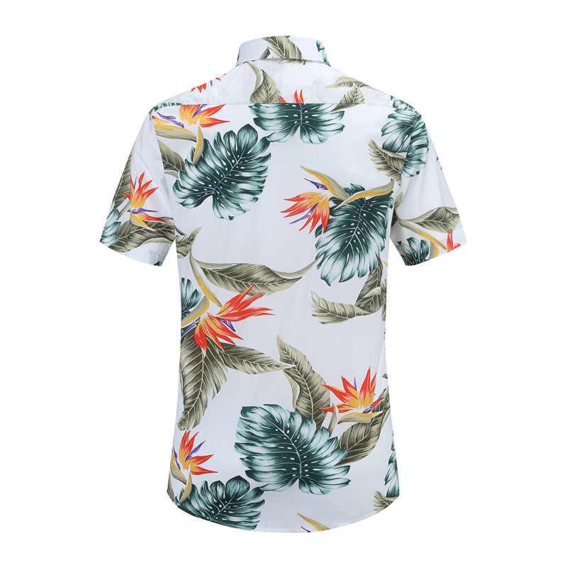 2019 Новое поступление, Мужская модная брендовая летняя Свободная Повседневная рубашка с коротким рукавом и цветочным принтом в гавайском стиле