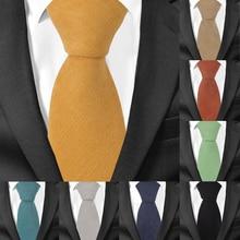 Men Cotton Neck Ties Casual Suits Skinny Tie Gravatas Solid Green Mens Neckties For Business 7 cm Width Wedding