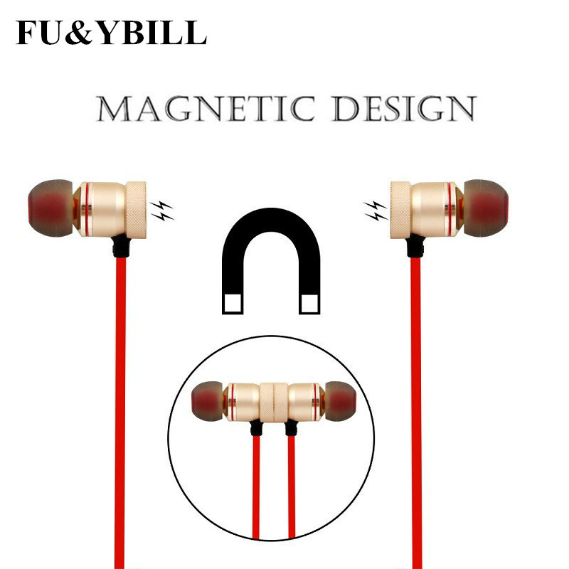 Fu&y Bill New Bluetooth Earphone Wireless Sports Running Stereo Headset Earbuds with Mic Magnetic Headphones for Xiaomi Iphone
