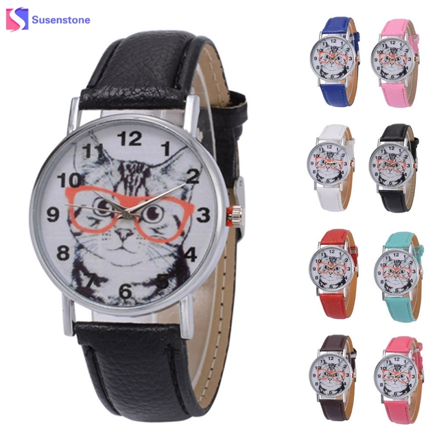 Fashion Unisex Leather Band Quartz Analog Wrist Watch Men Women Cute Cat Print R