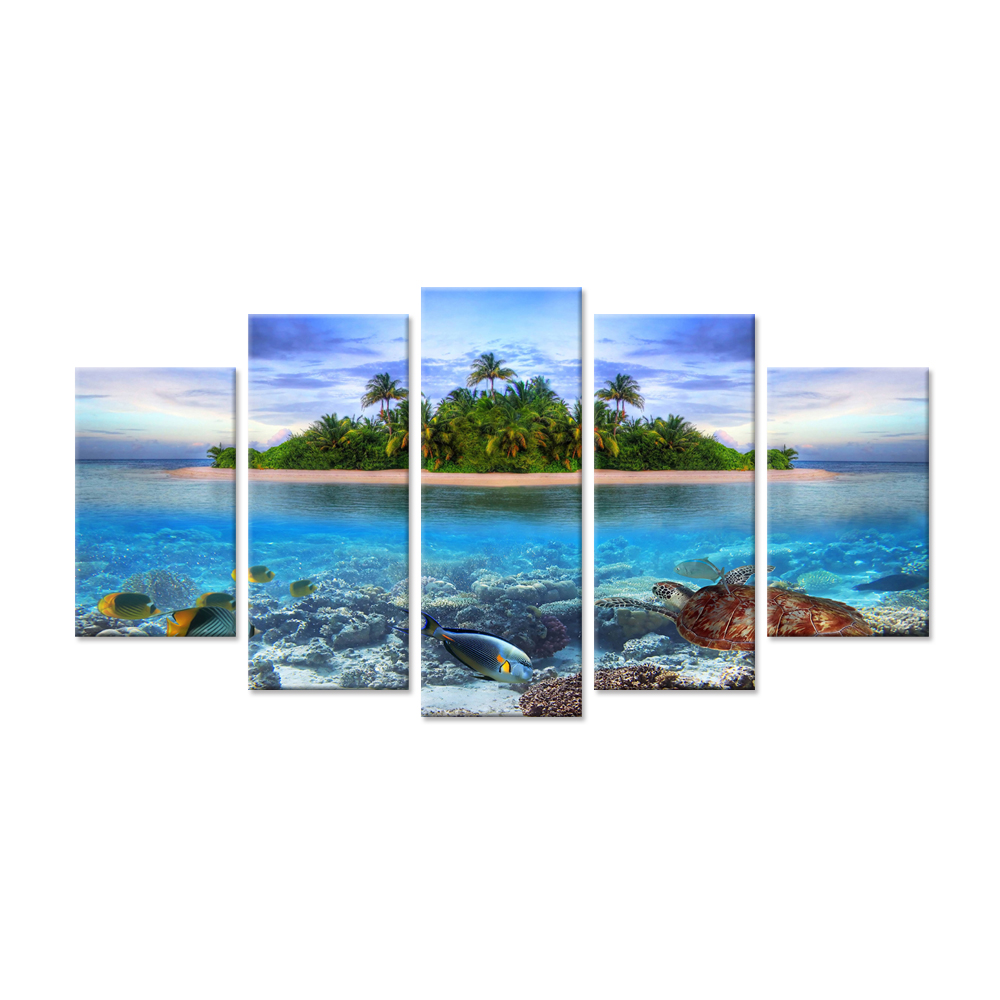 Large 5 Pieces Marine Life on Tropical Island In Maldives Ocean Sea Fish Underwater Landscape Wall Art Print For Living Room