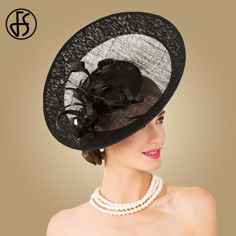 FS Royal Hat Black Fedora Sinamay Fascinators For Women Wedding Dress Elegant Large Brim Kentucky Derby