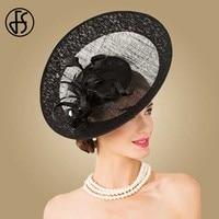 FS Royal Sinamay Big Black Hat Women Church Fascinators For Wedding Dress Kentucky Derby Hats Elegant Large Brim Party Fedoras