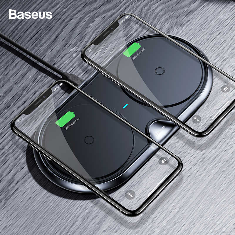 Baseus Dual Wireless Charger untuk iPhone X XS Max XR Samsung S9 S8 Note 8 9 10W Nirkabel Cepat pengisian Pad Dock Station Desktop