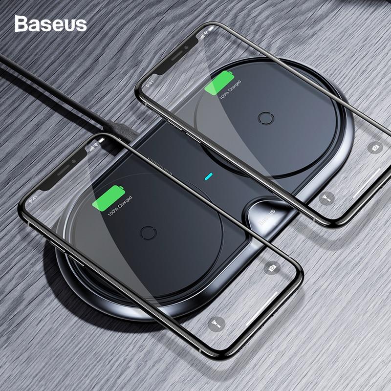 Baseus Double Chargeur Sans Fil Pour iPhone X XS Max Xr Samsung S9 S8 Note 8 9 10 w Rapide Sans Fil de charge Pad Dock Station De Bureau