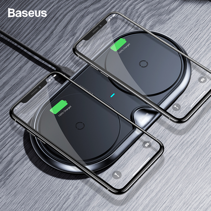Baseus Dual Qi Wireless Charger For iPhone 11 Pro XS Max Xr X Samsung S10 S9 Note 10 10W Fast Wireless Charging Pad Dock Station-in Wireless Chargers from Cellphones & Telecommunications
