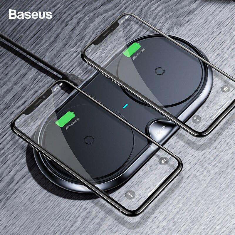Chargeur sans fil double Baseus pour iPhone X XS Max Xr Samsung S9 S8 Note 8 9 10 W chargeur rapide sans fil Station d'accueil bureau