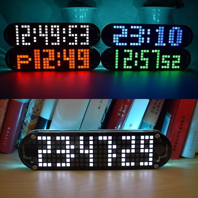 USB تيار مستمر 5 فولت DS3231 عالية الدقة متعددة الوظائف LED نقطة مصفوفة تأثيرات الرسوم المتحركة على مدار الساعة لتقوم بها بنفسك طقم قطع غيار 4 ألوان مع كابل الطاقة USB