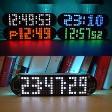 USB DC 5V DS3231 yüksek hassasiyetli çok fonksiyonlu LED nokta vuruşlu animasyon efektleri saat DIY parça kiti ile 4 renk USB güç kablosu