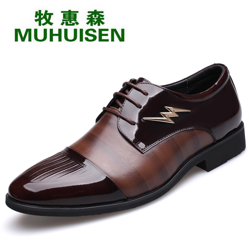 Muhuisen cow leather men`s dress shoes for fashion business men casual shoes with cheap price male leather shoes z suo men s shoes leather buckles casual men s shoes fashion high pure color for flat shoes with man zs1609
