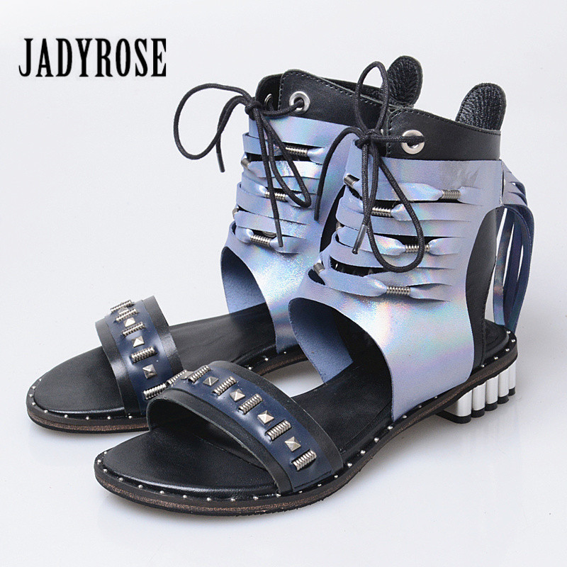 Jady Rose Fringed Women Gladiator Sandals Summer Beach Shoes Woman Mixed Color Rivets Studded Sandalias Mujer Tassels Flats instantarts women flats emoji face smile pattern summer air mesh beach flat shoes for youth girls mujer casual light sneakers