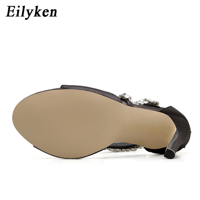 Eilyken Summer Fashion High Heel 11CM Women Sandals Rhinestone Crystal Heel Ladies Shoes Zipper Design Party Open-toed Sandals